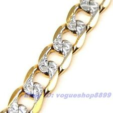 """8.3""""6mm10g REAL EMPAISTIC 18K YELLOW/WHITE GOLD GP BRACELET SOLID FILL GEP CHAIN"""