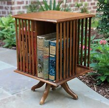 Antique English Oak Arts & Crafts Revolving Bookcase Book Holder Shelf Desktop
