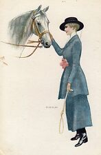 VINTAGE POSTCARD ART BIANCHI GLAMOUR LADY FASHION HORSE REV STAMPA