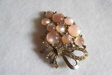 Vintage Pink Moonstone & Rhinestone Dress or Fur Clip