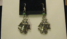 Pewter Puppy / Dog Angel Earrings  - You pick the Bead color..