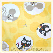 BonEful Fabric FQ Cotton Yellow Large CAT MOUSE Cheese Cloth Black Gray Dot B&W