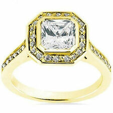 1.03 carat center Radiant cut Diamond Halo Engagement 14k Yellow Gold Ring VS1