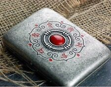Vintage Slim 16 pcs Silver Wiredrawing Buddha Word Red Eyes Cigarette Case Box