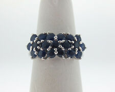 Natural 2.85cts Blue Sapphires Solid 14k White Gold Floral Ring 9mm Band