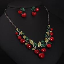 Damen Rote Kirschen Pullover Kette Geschenk Anhänger Halskette Ohrhnger Set