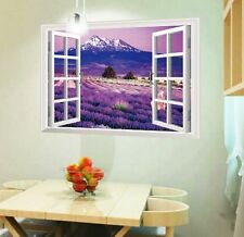 Home 3D Fake Window Lavender  View Removable Wall Sticker Art PVC Decor Mural