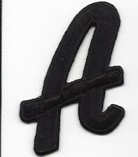 """LETTERS  - Black Script  2"""" Letter """"A"""" - Iron On Embroidered Applique"""
