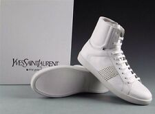 NIB AUTH YVES SAINT LAURENT YSL  WHITE STUDDED HIGHTOP SNEAKER FLAT SHOE SZ 39