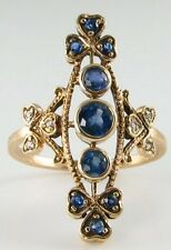 UNUSUAL 9K VICTORIAN INS LONG FINGER BLUE SAPPHIRE & DIAMOND RING