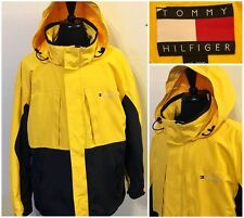 Mens Tommy Hilfiger Yellow Ski Jacket Coat HIP HOP Size XXL 2XL Embroidered Logo