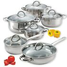 12 Piece Stainless Steel Pans Pots Set. Glass Clear Lids Induction Stove NuWave