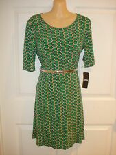 MSK Wear to Work Short Sleeve Geometric Print Dress With Belt Sz S