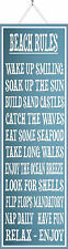 Beach Rules Inspirational Quote Sign in Slate Blue, Beach Wall Art PM172