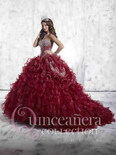 2016 Hot sale Wine Red Embroidery Quinceanera Dresses Ball gown for 15 years