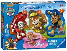 Paw Patrol 4 in Box Shaped Ravensburger Jigsaw Puzzles - 10, 12, 14 &16 Piece