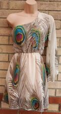 NUDE GREEN PEACOCKS TAUPE ONE SHOULDER SKATER A LINE FLIPPY TEA DRESS S 8 10