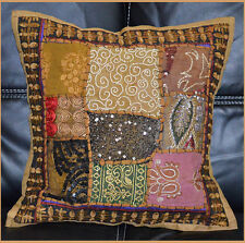 Hand Crafted Antique Tribal Patch Work green Pillow Cover Cushion Cover India!!