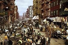 New 5x7 Photo: Crowds of People on Mulberry Street in New York City, 1900