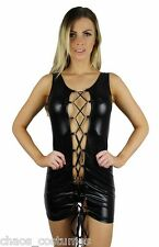 Sexy Gogo Stripper Biker Naughty Dancer Exotic Erotic Chain Mini Dress 8 10 12