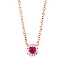 Womens Round Ruby Diamond 14K Rose Gold Halo Solitaire Pendant Necklace Natural