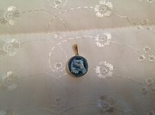 14k Yellow Gold Penn State Nittany Lion Carved Blue Agate Cameo Charm