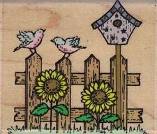 Country Fence Mounted Rubber Stamp New Hero Arts E025
