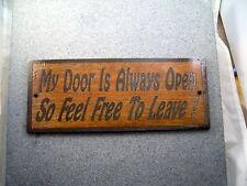 """""""My Door Is Always Open"""" LASER ENGRAVED SIGN ,Birch Wood, New for Dorm, Office"""