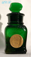 EMERALD GREEN antique SMELLING SALT bottle W H WALKER w/stopper & pic HORSE 1837