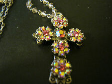 """Kirks Folly Cross Aurora Borealis Crystals w/Removable 20"""" Chain Necklace, New"""