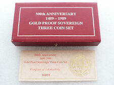 1989 ROYAL MINT TUDOR ROSE SOVRANO ORO PROOF 3 MEDAGLIA SET BOX & COA solo