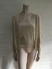 JOHN GALLIANO IVORY CASHMERE SILK RIB KNIT CARDIGAN SET TWIN SET M MEDIUM
