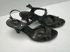 ANTONIO MELANI Black Leather High Heeled Sandals w/brass grommets size 7 M