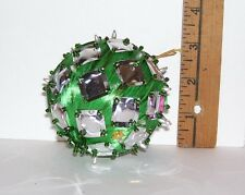 VINTAGE HANDMADE BEADED CHRISTMAS TREE ORNAMENT #26 SILVER & GREEN