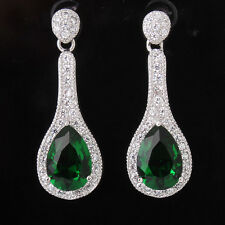 Unique wedding 18k white gold filled pear emerald swarovski dangle earring