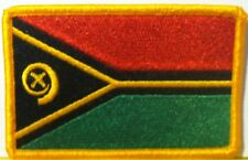 VANUATU FLAG  Embroidery Iron-On Patch Military Emblem Gold Border