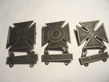 LOT OF 3 STERLING SILVER VINTAGE IRON CROSS US MILITARY PINS PISTOL & RIFLE