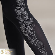 On Sale Fashion gorgeous  microfiber velvet little rose pattern pantyhose - 8136