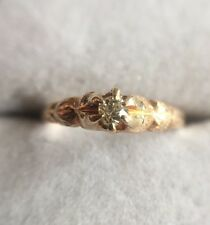 Vintage 14k ROSE GOLD Old European Victorian Miners Cushion Cut Diamond Ring