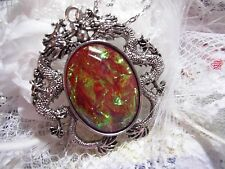 #JRJ726 Dragon Silver Necklace Pendant Mauve RED Fire Opal Cameo Steampunk AMBER