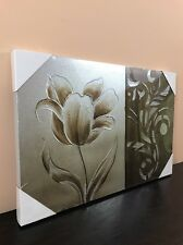 Wall Art Canvas FRAMED Home Décor Hand Crafted Gold Flower Abstract (16X24)