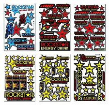 6 New Rockstar Energy Sticker Motocross Bike MTB ATV Racing Moto GP Decal Sheets