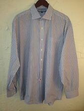TOMMY HILFIGER RED WHITE BLUE STRIPED DRESS CASUAL SHIRT 17 34/35  XL