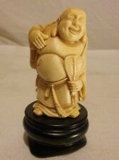 Vintage Laughing Buddha w/ Sack Resin Chinese Figurine Wooden Base