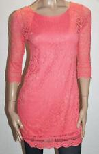 paper scissors Designer Coral Lace Short Sleeve Day Dress Size S BNWT #SE45