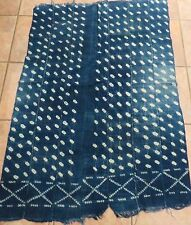 """Vintage African,Dogon Indigo Resist Dyed Fabric/Hand Woven Cotton Strips/36""""x50"""""""
