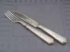 schönes Fischbesteck Simon Grothe Dänemark 1900 Silber Keltischer Drachen