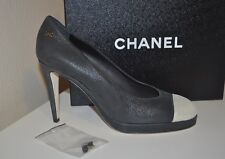 NIB CHANEL 2 Tone Cap Toe Platform Pump Shoes Black / Gold Buffalo Leather Sz 12