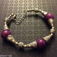"CB34. 8""-9.25"" Tibetan silver bracelet with purple agate beads Plum UK BOXED"