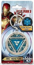 Iron Man 3 Glow in the Dark Arc Reactor Keychain Keyring Marvel Comics New 68014